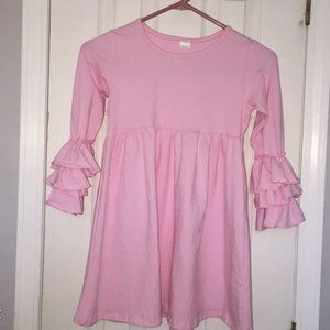 Other - Boutique Girls Baby Pink Ruffle Sleeve Dress